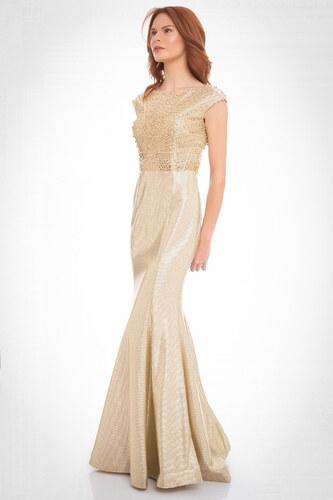 e16de1edae595 Pierre Cardin Kadın Gold Taşlı Sırt Dekolteli Balık Abiye Elbise PC54898