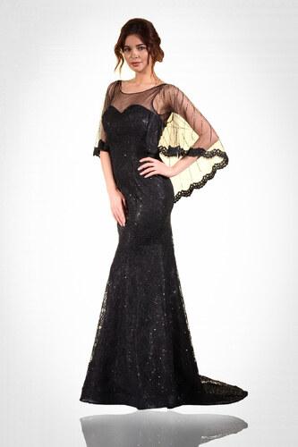 c5ffd2f13cabd Pierre Cardin Kadın Siyah Pelerinli Dantelli Balık Abiye Elbise PC55034