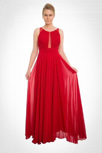 ec342865c9229 Pierre Cardin Kadın Kırmızı Göğüs Dekolteli Şifon Uzun Abiye Elbise PC54554