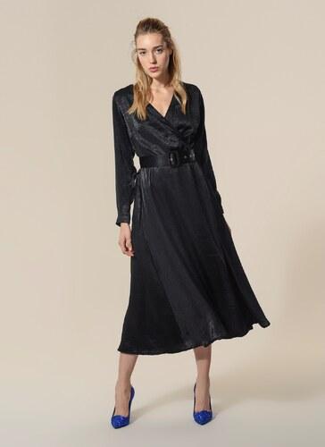 2d2e7f9e25ed0 Agenda Kadın Kemerli Saten Elbise Siyah - Glami.com.tr