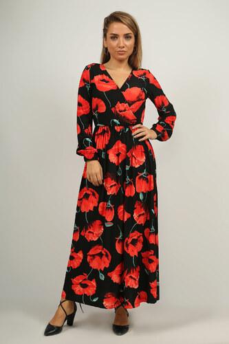 bbaddd67bcdfb Deppo Avantaj Kadın Siyah Kruvaze Yaka Çiçek Desenli Elbise P-007903 ...