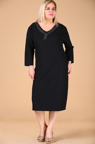 c986c8c7f7b6e Patırtı Büyük Beden Yaka Taş İşlemeli Siyah Elbise - Glami.com.tr