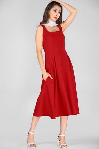 58fcf5595825d Patırtı Yan Fermuar Detay Midiboy Kırmızı Elbise - Glami.com.tr