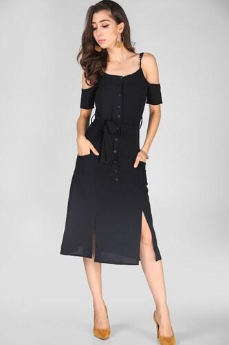 2a116651933d9 Patırtı Omuz Dekolteli Siyah Elbise - Glami.com.tr