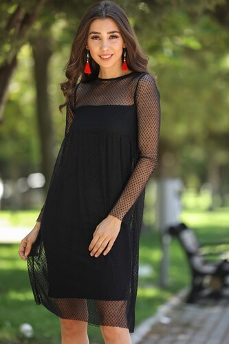 aa33dd3d55e4c Patırtı Tül Detay Siyah Elbise - Glami.com.tr