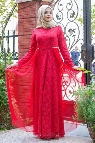 7165ff27d0be2 Patırtı Mottox Kuyruğu Dantel Abiye Elbise Kırmızı 3095 - Glami.com.tr