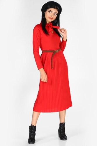 cce8452ab21a0 Patırtı Kadın Bel Kemerli Kırmızı Elbise - Glami.com.tr
