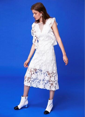 472cdc5c4aa7b Ipekyol Kadın Güpür Form Elbise Beyaz - Glami.com.tr