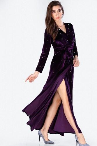 9dfdfbb323810 Patırtı Kadın İnci İşlemeli Koyu Mor Kadife Elbise - Glami.com.tr