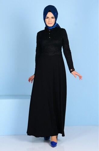 628985d92c991 Sefamerve Dantel Detaylı Elbise 3162-02 Siyah - 38 - Glami.com.tr