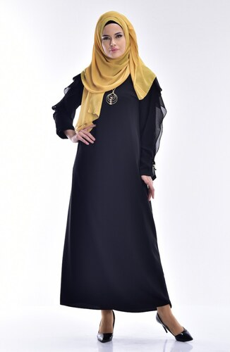 b85a35f06d1f6 Sefamerve Şifon Detaylı Elbise 0123-02 Siyah - 38 - Glami.com.tr