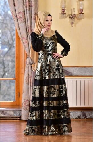 456b6d9e81f59 Sefamerve Jakarlı Abiye Elbise 1713216-01 Gold - 38 - Glami.com.tr