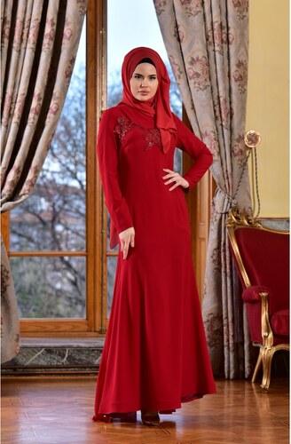 c8ed61b467731 Sefamerve Dantelli Abiye Elbise 1713182-04 Kırmızı - 38 - Glami.com.tr