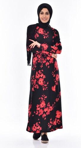 d730f0f728d69 Sefamerve Çiçek Desenli Elbise 4804A-01 Siyah - 40 - Glami.com.tr
