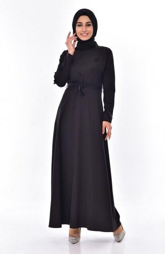 7f90f0159eadd Sefamerve Kuşaklı Elbise 1085-02 Siyah - 38 - Glami.com.tr