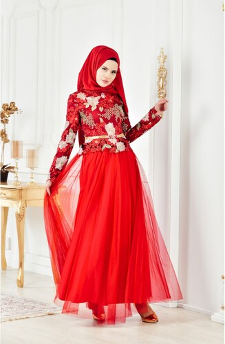 41583f6001db8 Sefamerve Dantelli Taşlı Abiye Elbise 2717-01 Kırmızı - 44 - Glami ...