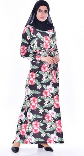 9dbf106508c87 Sefamerve Çiçek Desenli Elbise 4939C-01 Siyah - 38 - Glami.com.tr