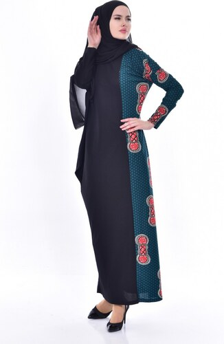 6a618468acbbf Sefamerve Yarasa Kol Elbise 9043-02 Siyah Yeşil - 38-40 - Glami.com.tr