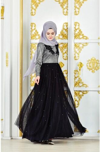 cfe28e991d3d4 Sefamerve Güpürlü Abiye Elbise 31558-01 Gümüş Siyah - 38 - Glami.com.tr