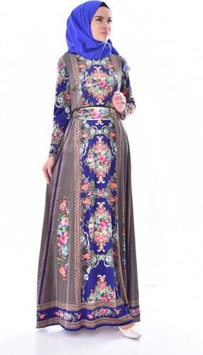 f3dc60a0677f0 Sefamerve Desenli Kuşaklı Kadife Elbise 24404-02 Saks - 38 - Glami ...