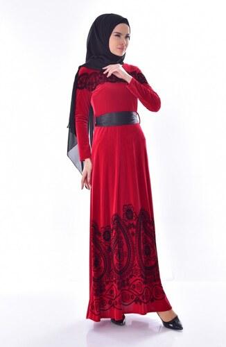 48b1ea79e2984 Sefamerve Desenli Kuşaklı Kadife Elbise 7708-03 Kırmızı - 40 - Glami ...