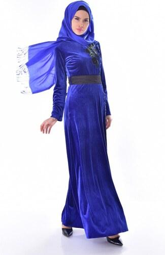fb3c577b072ec Sefamerve Nakışlı Kuşaklı Kadife Elbise 7725-03 Saks - 38 - Glami.com.tr