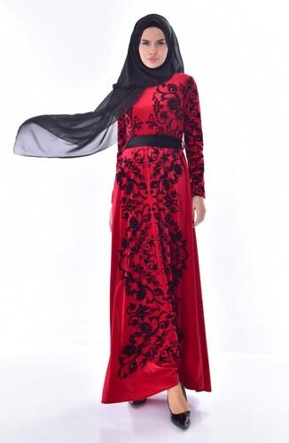 8397521600f9f Sefamerve Desenli Kuşaklı Kadife Elbise 24542-02 Bordo - 38 - Glami ...