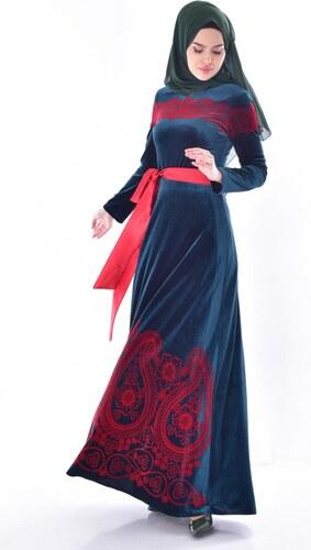 57cdb25b43386 Sefamerve Desenli Kuşaklı Kadife Elbise 7708-01 Zümrüt Yeşili - 38 ...
