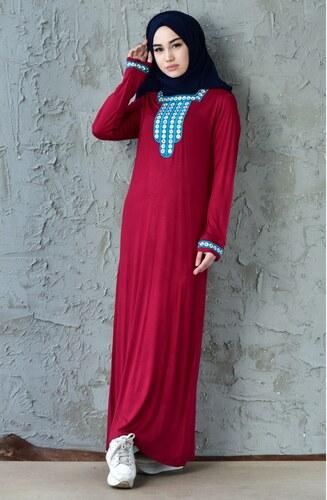 59bfb0f75bd02 Sefamerve Nakışlı Elbise 99161-02 Vişne - M - Glami.com.tr