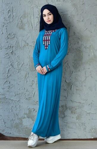 6396453402d88 Sefamerve Nakışlı Elbise 99161-04 Yeşil - M - Glami.com.tr