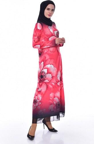d7930ba5d35b6 Sefamerve Taş Baskılı Elbise 99163-02 Kırmızı - M - Glami.com.tr
