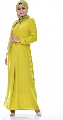 3f036de4682d3 Sefamerve Düğme Detaylı Viskon Elbise 1250-20 Yağ Yeşil - 46 - Glami ...