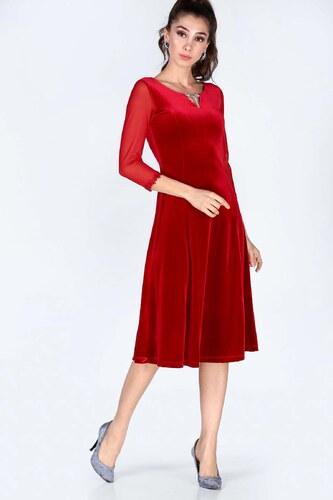 d1dfdb6489517 Patırtı Kadın Kollar Tül İşlemeli Kırmızı Kadife Elbise - Glami.com.tr
