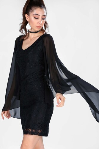 7874d6ffcf512 Patırtı Kadın Dantel İşlemeli Siyah Elbise - Glami.com.tr