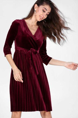 a1df8ee7c088a Patırtı Kadın Ön Kruvaze Model Kadife Bordo Elbise - Glami.com.tr
