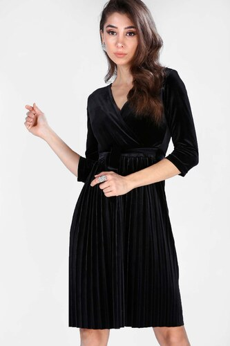 2517cbc3a656e Patırtı Kadın Ön Kruvaze Model Kadife Siyah Elbise - Glami.com.tr