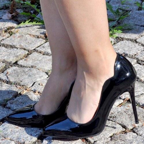 c9d66195e13c1 Noa Shoes Büyük Numara Stiletto Siyah Rugan Ayakkabı 40-41-42 Kırmızı  Tabanlı