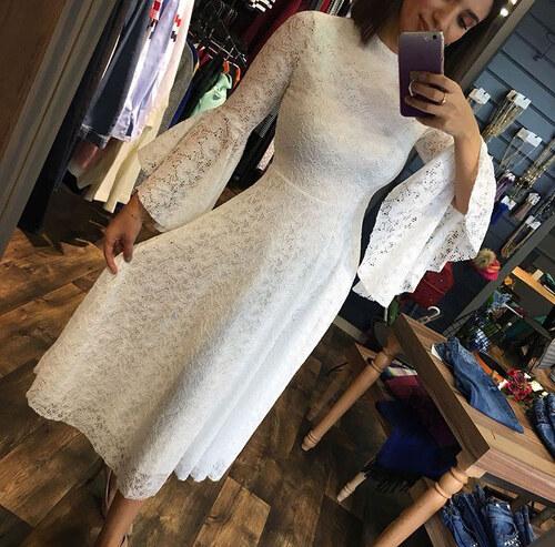 202df7ee53309 Diğer Elbise Beyaz Elbise İspanyol Kol Güpürlü Nişan Düğün Elbisesi ...