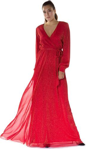 030b72b02ec5e 6ixty8ight Kadın Kırmızı Kruvaze Simli Uzun Abiye Elbise S56519 ...