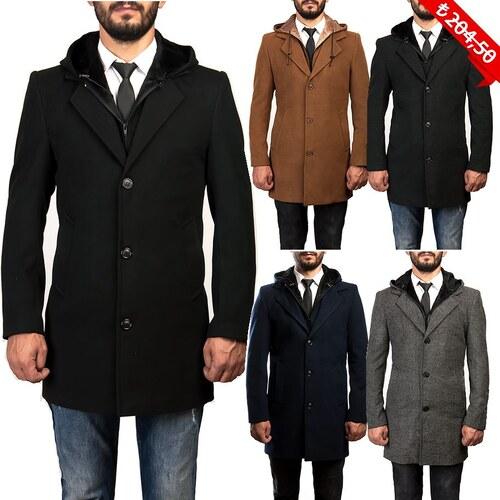 1cbf7edbff45f Özel Üretim DARKBLUE Sökülebilir Kapşonlu Erkek Uzun Kaşe Kaban Palto Mont