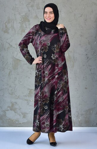 3d959da208a2f Sefamerve Büyük Beden Çiçek Desenli Elbise 4848E-01 Siyah Mürdüm - 54