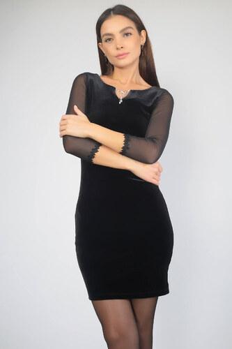 f46e620086a73 By Saygı Kadın Siyah Yakası Broşlu Kol Ucu Şeritli Kadife Abiye Elbise  S-19K0290014