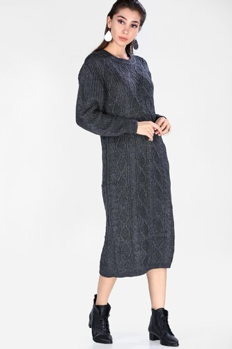 20bd09b66ded9 Patırtı Kadın Triko Antrasit Elbise - Glami.com.tr