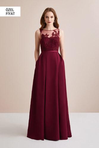 4b29a0ce01060 Oleg Cassini Kadın Şarap Rengi İllüzyon Yaka Dantel Uzun Abiye Elbise  4XLOC290023
