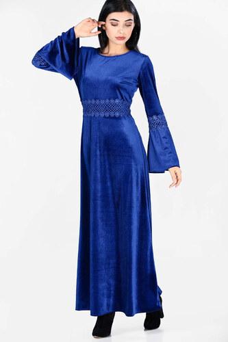 0cf07276a1552 Patırtı Kadın Kollar Volanlı Kadife Saks Elbise - Glami.com.tr
