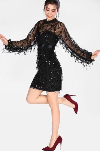 b3b702fb1eec1 Patırtı Kadın Pullu Siyah Kısa Elbise - Glami.com.tr
