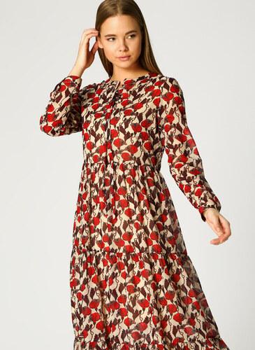 57be780441598 Mizalle Çiçek Desenli Kırmızı-Bej Elbise XL 5002360813004 - Glami.com.tr