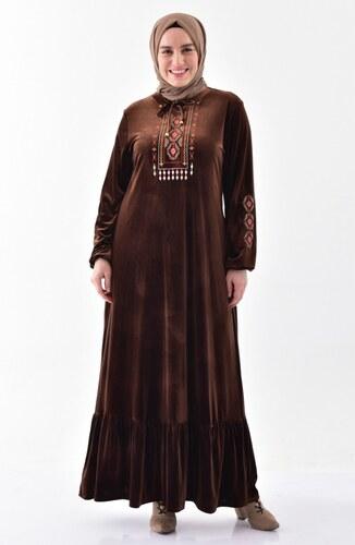 f5f8746fe770c Sefamerve Nakışlı Kadife Elbise 2073-04 Kahverengi - 48 - Glami.com.tr