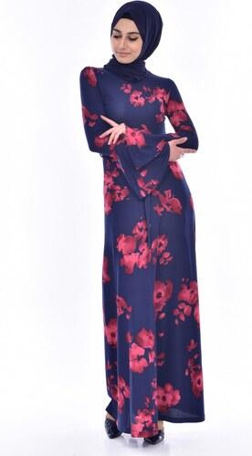 67d111ce3b3ad Sefamerve Çiçek Desenli Elbise 1644F-01 Lacivert Bordo - 38 - Glami ...