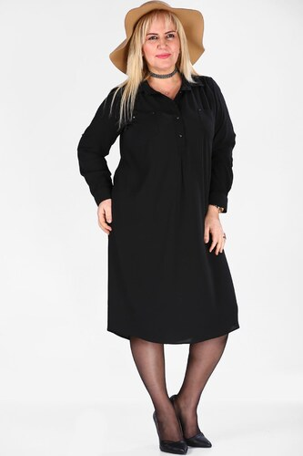 086b1d1a705d8 Patırtı Siyah Büyük Beden Tunik Elbise - Glami.com.tr